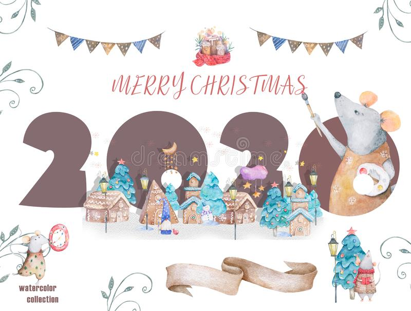 Cute cartoon christmas rat mouse christmas card. Watercolor hand drawn animal illustration. New Year 2020 holiday. Drawing stock illustration