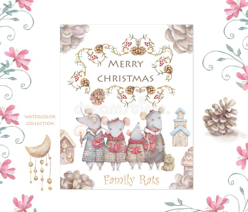 Cute cartoon christmas rat mouse christmas card. Watercolor hand drawn animal illustration. New Year 2020 holiday drawing. Cute white rat and mouse illustration stock photos