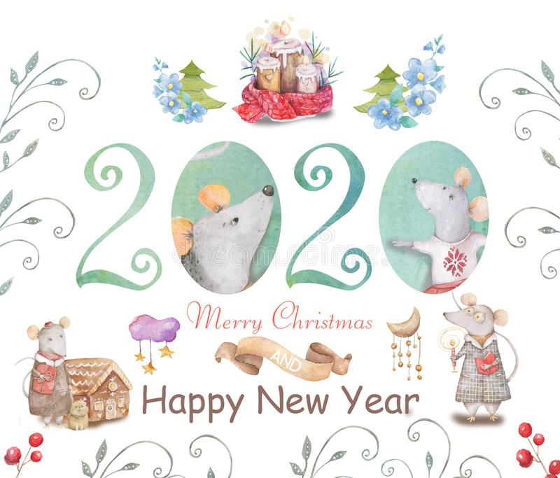 Cute cartoon christmas rat mouse christmas card. Watercolor hand drawn animal illustration. New Year 2020 holiday drawing. Cute white rat and mouse illustration stock illustration