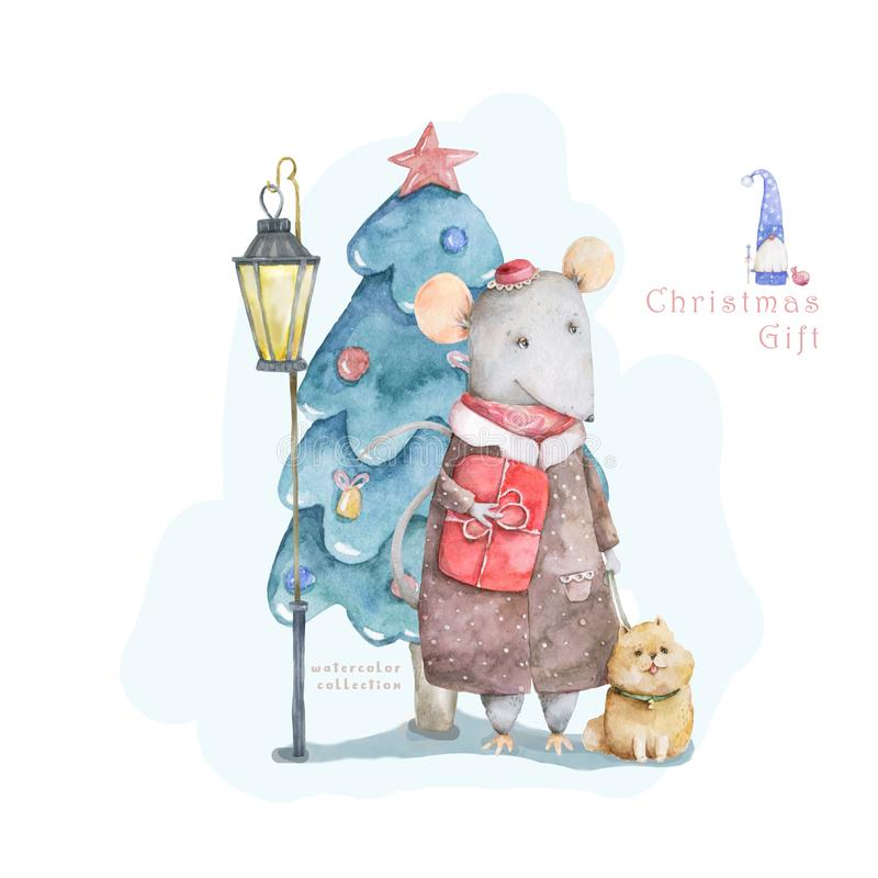 Cute cartoon christmas rat mouse with dog and blue forest tree, vitage style lamp christmas card. Watercolor hand drawn animal royalty free illustration