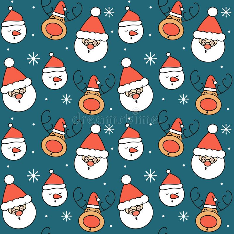 Cute cartoon christmas seamless vector pattern background illustration with santa claus, snowman, reindeer and snowflakes stock illustration