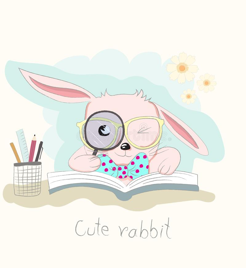 Cute cartoon clever little rabbit reading book. Hand drawn style.  stock illustration