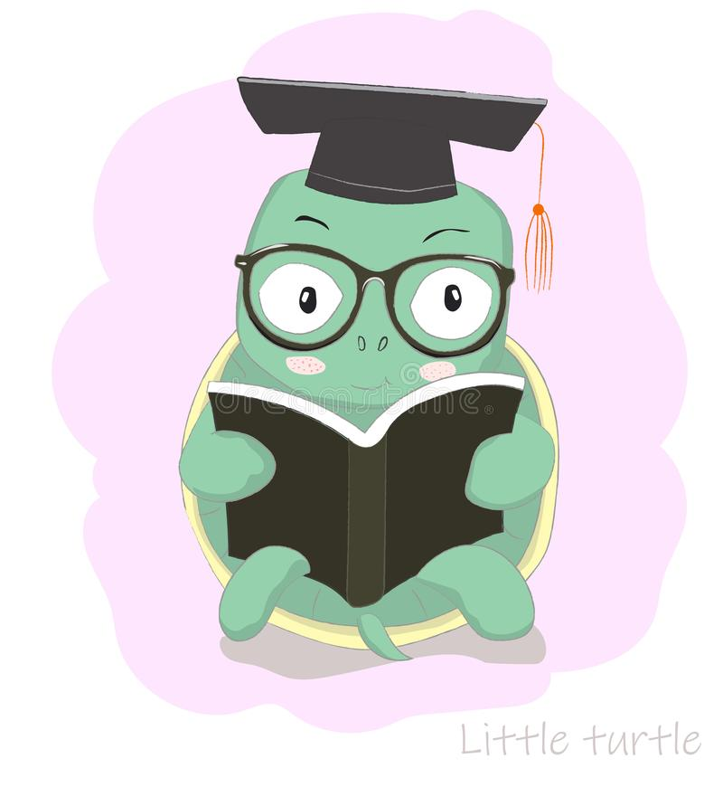 Cute cartoon clever little turtle reading book. Hand drawn style.  stock illustration