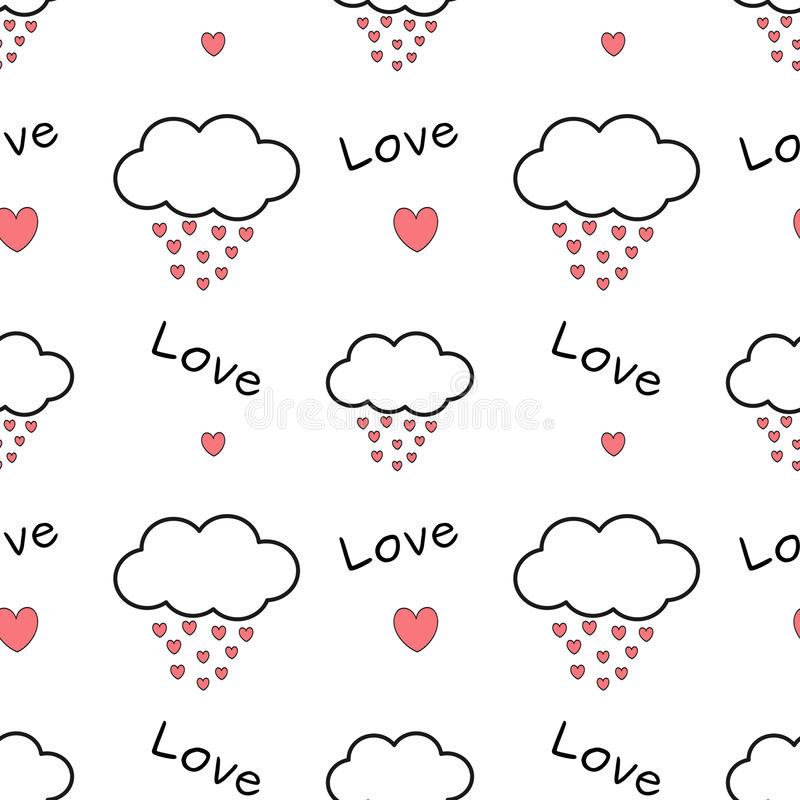Cute cartoon clouds drops hearts lovely romantic seamless pattern background illustration royalty free illustration