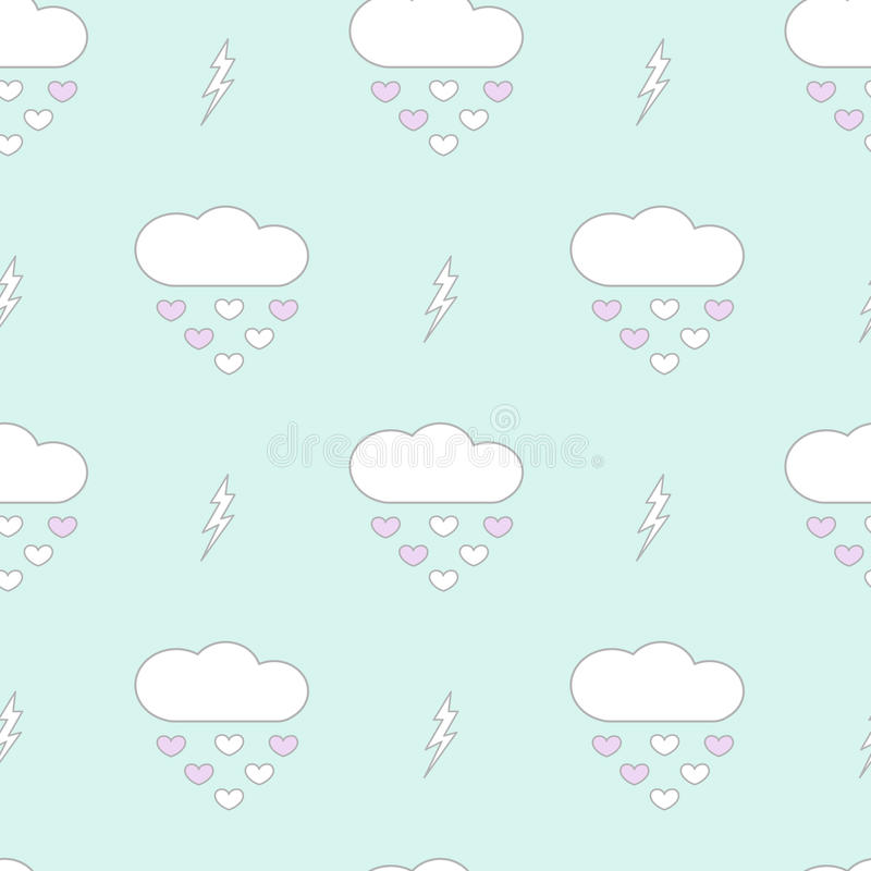 Cute cartoon clouds drops hearts romantic and lovely seamless pattern background illustration stock illustration