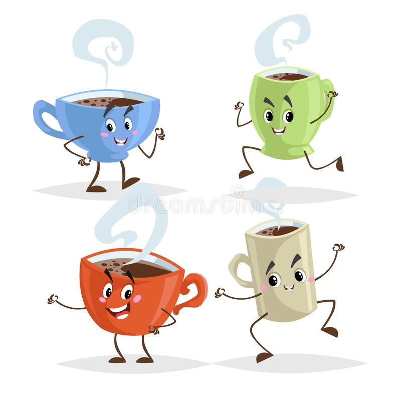 Cute cartoon coffee mug and cups characters set. Coffee time concepts. Jumping, running, giving thumb up poses. Vector illustrations royalty free illustration