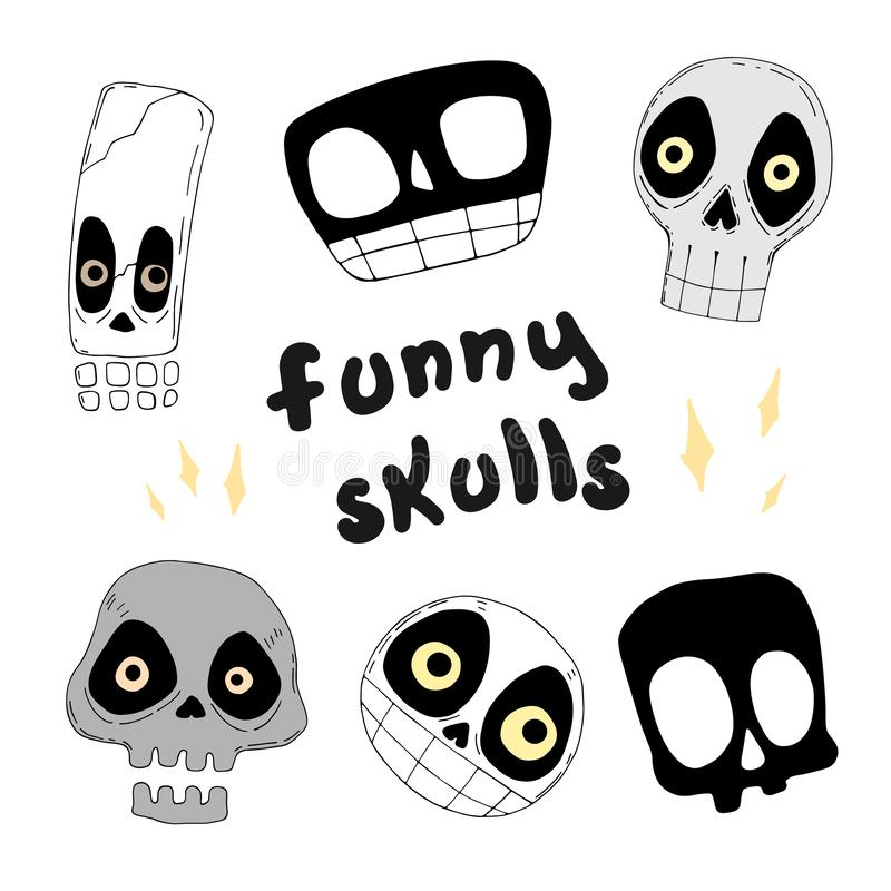 Set of funny skulls. vector illustration stock illustration