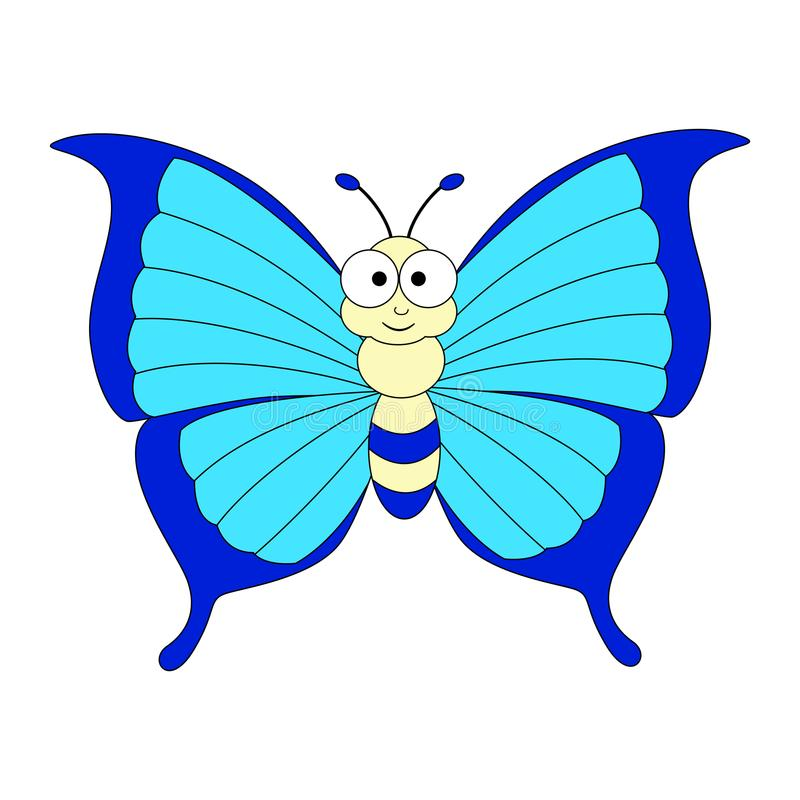 Cute cartoon colorful butterfly. Vector illustration isolated o royalty free illustration