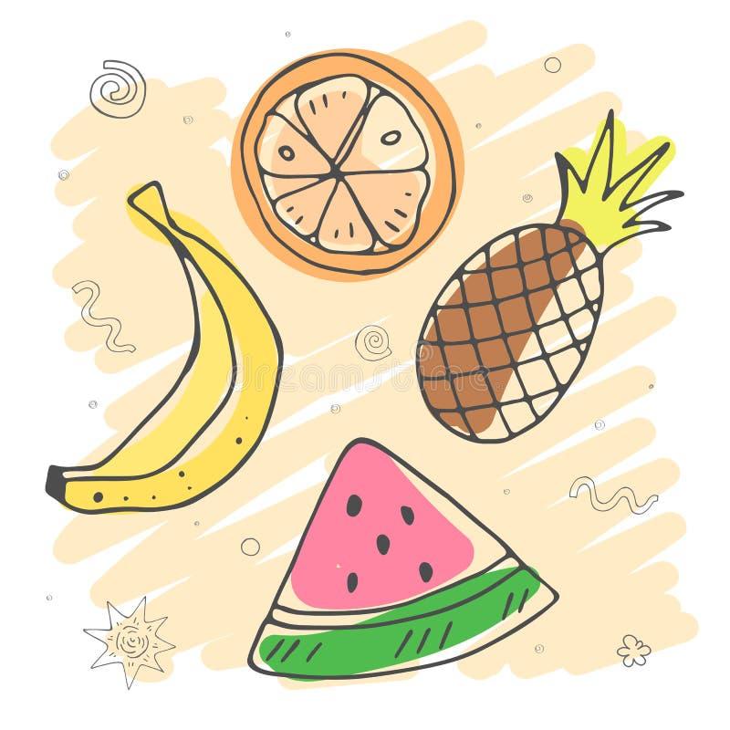 Cute cartoon colorful caricature fruits. summer season. vector illustration. royalty free illustration
