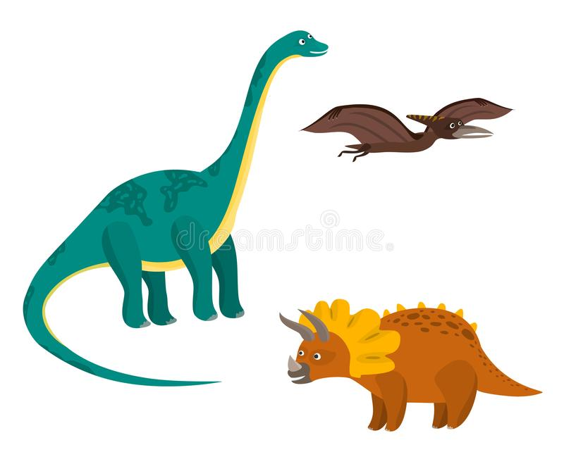 Cute cartoon colorful dinosaurs set. Nice bright diplodocus, pterodactyl, triceratops characters for children apps, wrapping paper design, educational books stock illustration