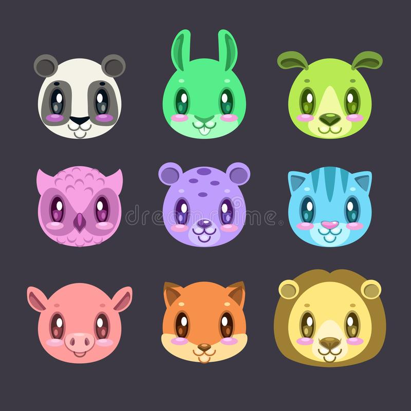 Cute cartoon colorful faces of different animals. royalty free illustration