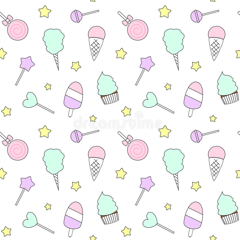 Cute cartoon colorful seamless pattern with candies, ice cream, lollipop and cotton candy stock illustration
