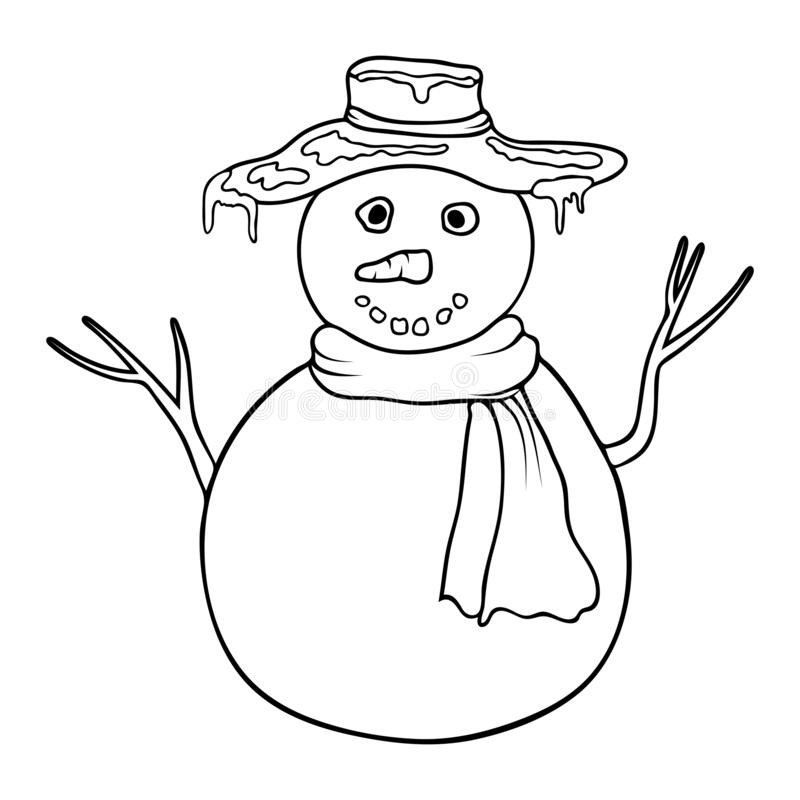 Cute cartoon coloring snowman. Coloring book or page with snowman. Outline snowman isolated on white background. black and white. Cute cartoon coloring snowman royalty free illustration