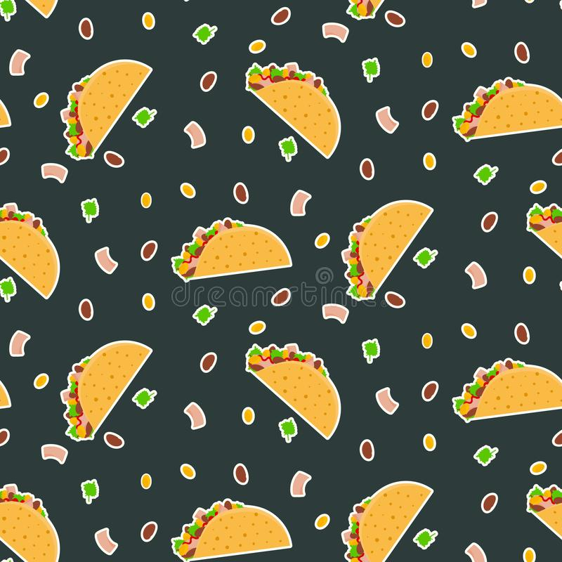 Cute cartoon contrast vector tacos pattern on dark background vector illustration
