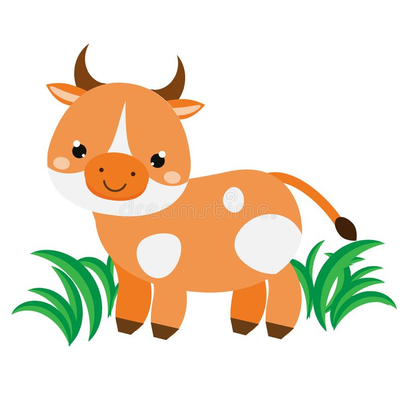 Cute cartoon cow. Farm animal character for babies and children design, prints.  vector illustration