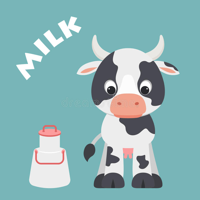 Free Cute Cartoon Cow With Milk Container Royalty Free Stock Photography - 93116007