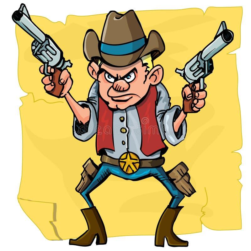 Cute cartoon cowboy holding sixguns. Cute cartoon cowboy holding six guns. Isolated on distressed paper design royalty free illustration