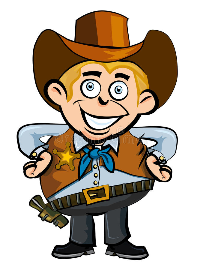 Cute cartoon cowboy smiling. Isolated on white royalty free illustration