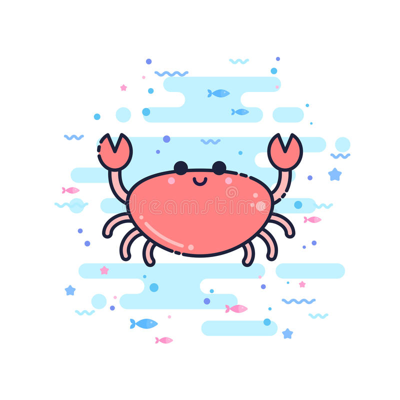 Cute cartoon crab character vector illustration