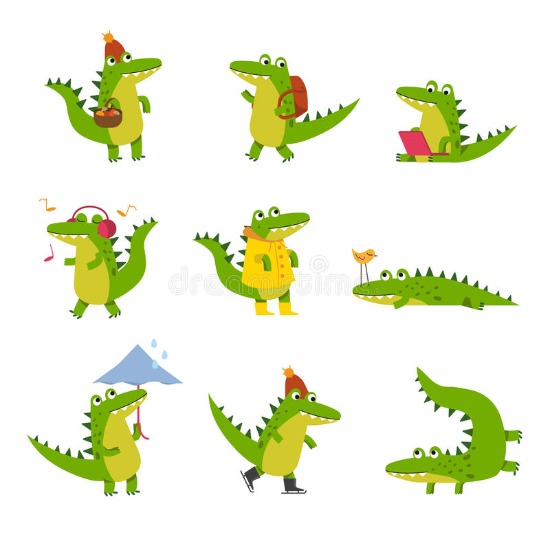 Cute cartoon crocodile in every day activities, colorful characters vector Illustrations royalty free illustration