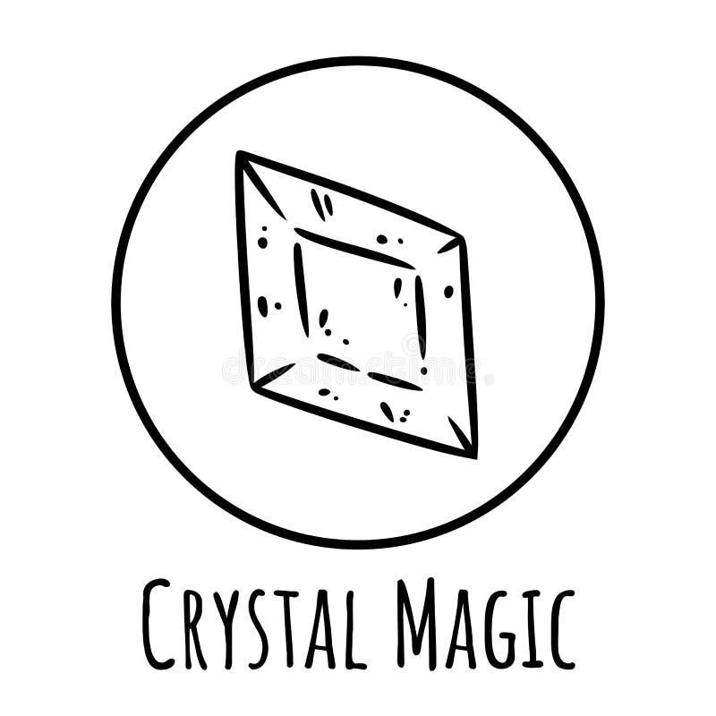 Cute cartoon crystal doodle image. Crystal magic logo. Media highlights graphic symbol. Cute cartoon crystal doodle image. Crystal magic logo. Media highlights stock illustration