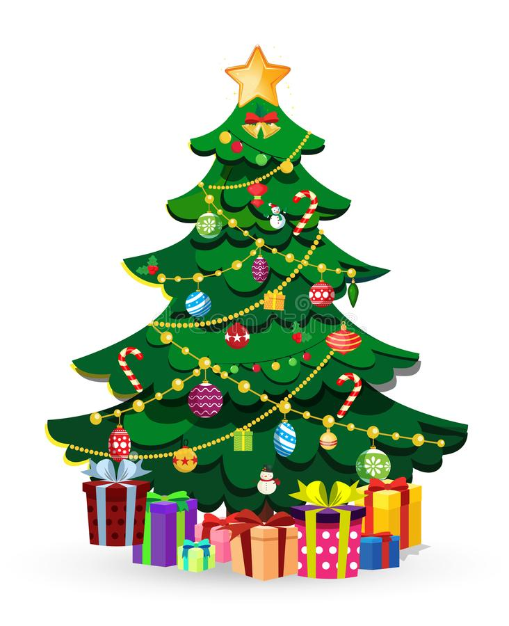 Free Cute Cartoon Decorated Christmas Fir Tree With Many Gifts And Present Boxes Royalty Free Stock Photography - 132425977