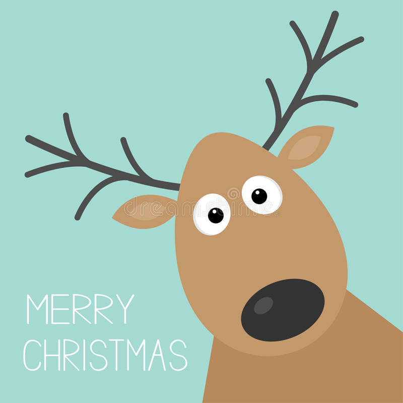 Cute cartoon deer face with horn Merry christmas background card Flat design. Vector illustration