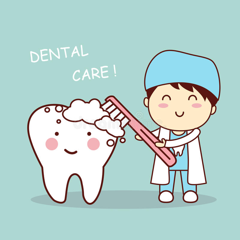 Free Cute Cartoon Dentist Brush Tooth Stock Images - 65474754