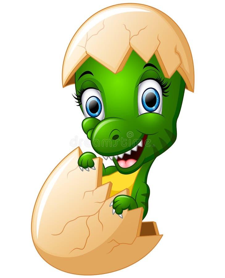 Cute cartoon dinosaur hatching. Illustration of Cute cartoon dinosaur hatching royalty free illustration