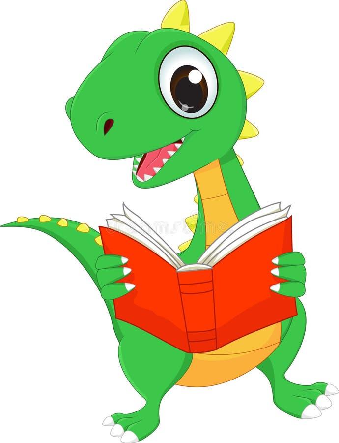 Cute Cartoon Dinosaur Reading A Book Stock Vector ...