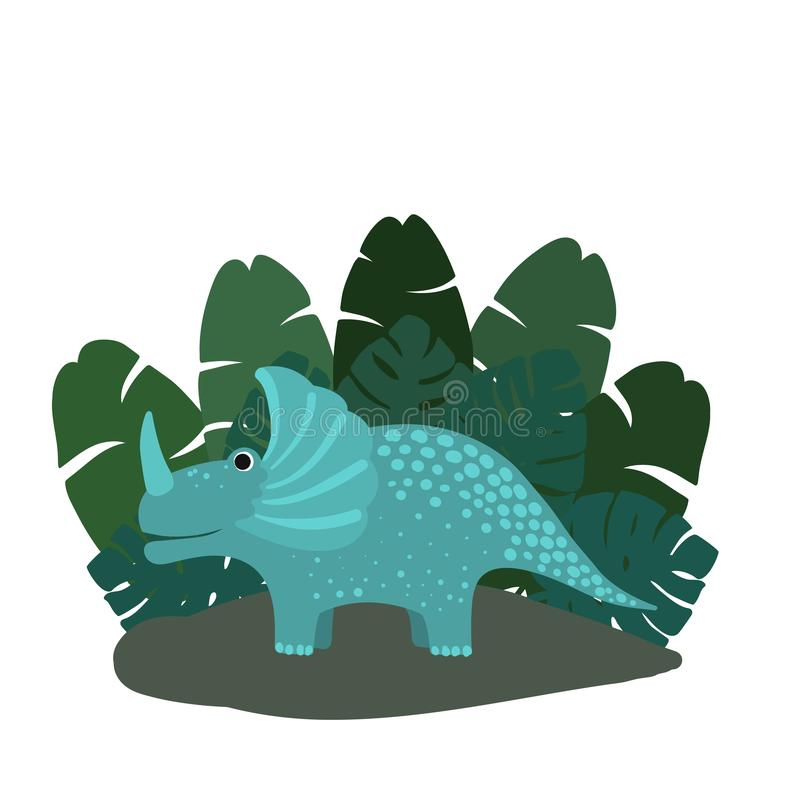 Cute, cartoon dinosaur triceratops on the background of bushes of tropical palm leaves. Vector illustration royalty free illustration