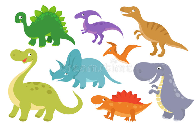 Cute cartoon dinosaurs vector clip art. Funny dino chatacters for baby collection royalty free illustration