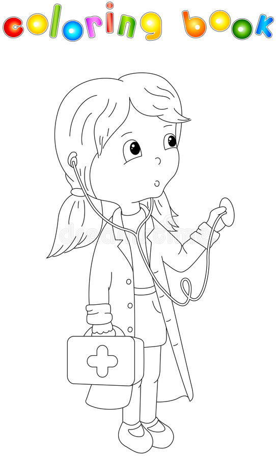 Cute cartoon doctor with a stethoscope. Coloring book for kids vector illustration