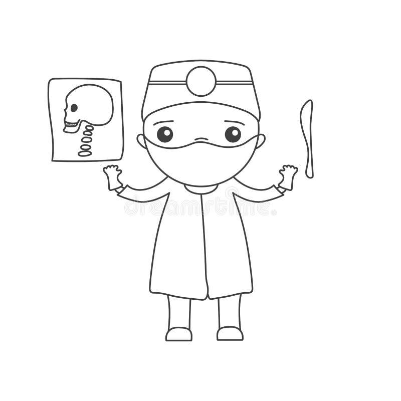 Cute cartoon doctor vector illustration