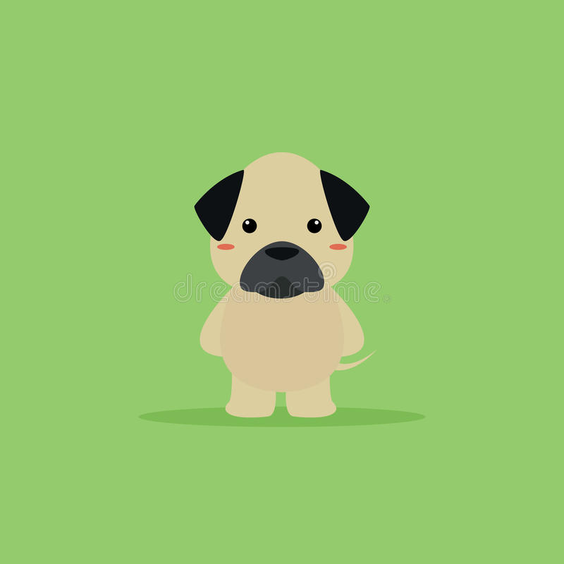 Cute Cartoon dog. Abstract cartoon dog on a green background royalty free illustration