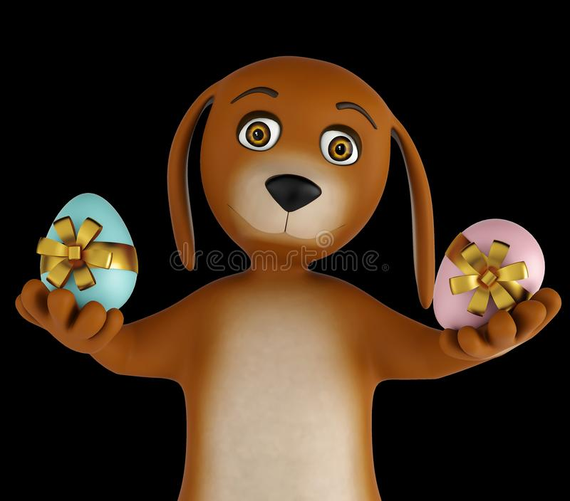 Cute cartoon dog with easter eggs isolated on black background. 3d render. Ing vector illustration