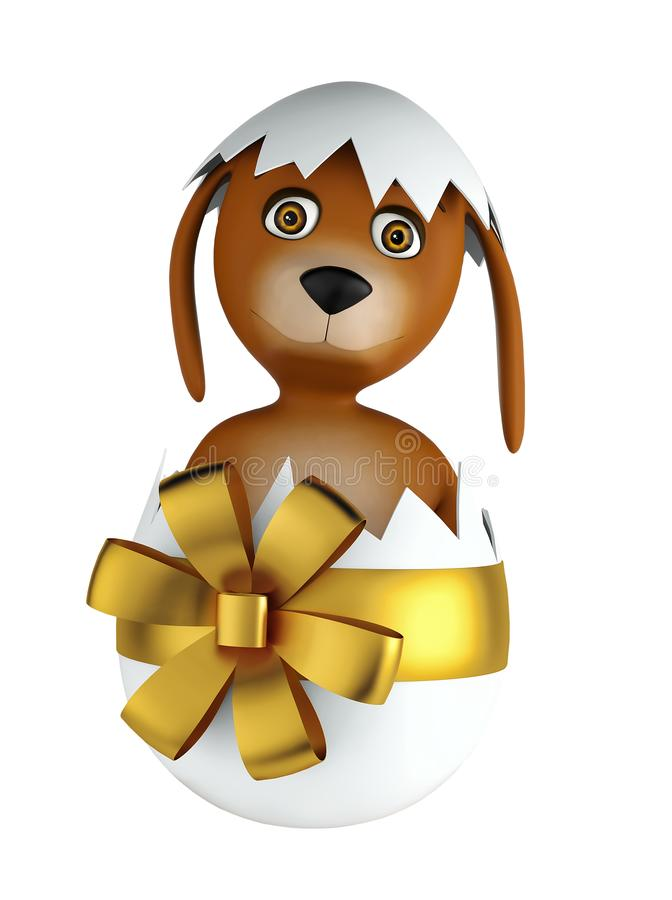 Cute cartoon dog sitting in easter egg isolated on white background. 3d render. Cute cartoon dog with easter eggs isolated on white background. 3d rendering vector illustration