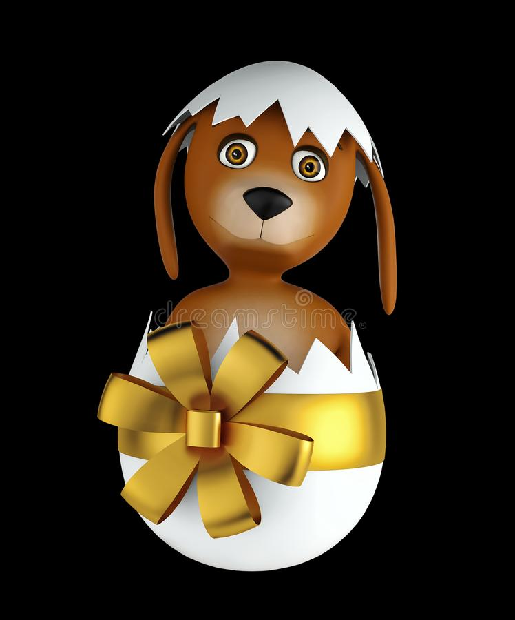 Cute cartoon dog sitting in easter egg isolated on black background. 3d render. Cute cartoon dog with easter eggs isolated on black background. 3d rendering stock illustration