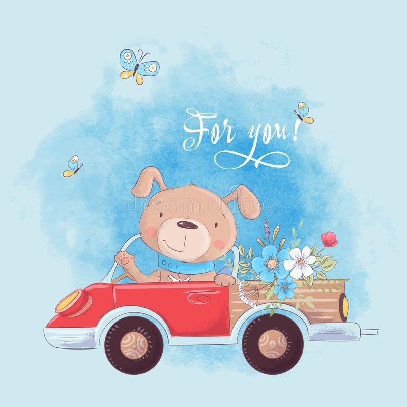 Cute cartoon dog on a truck with flowers, postcard print poster for a child s room. vector illustration