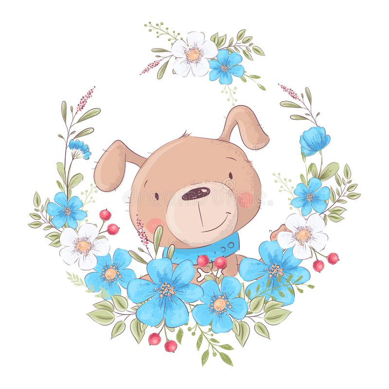 Cute cartoon dog in a wreath of flowers, postcard print poster for the children s room. vector illustration