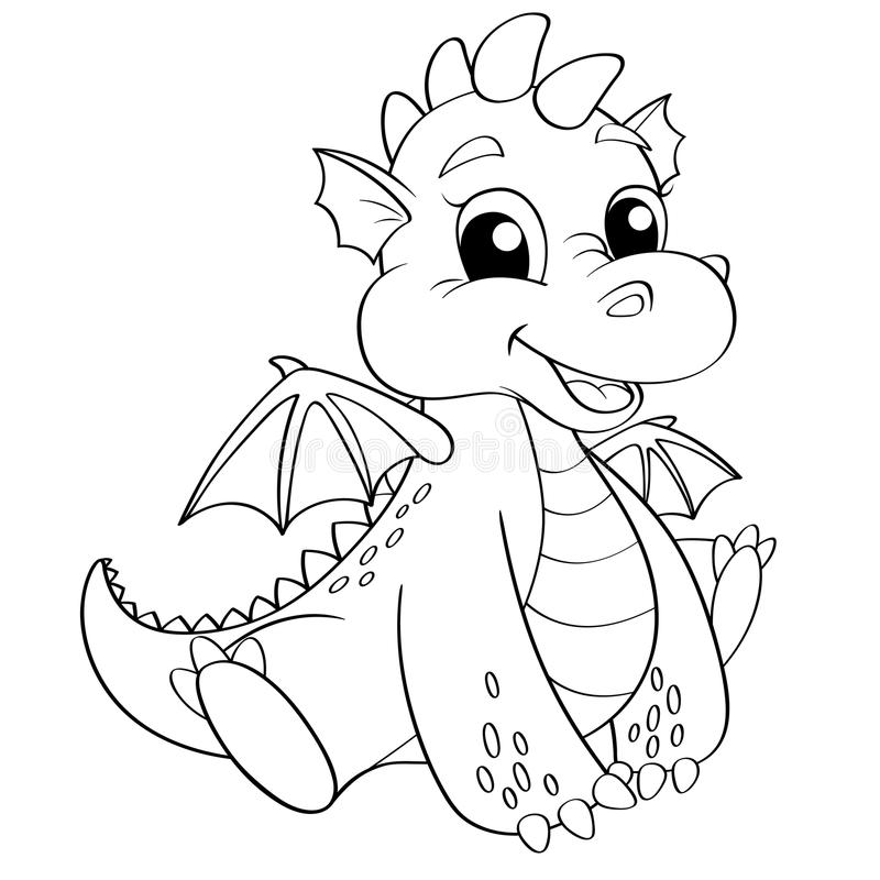 Cute cartoon dragon. Black and white vector illustration for coloring book vector illustration