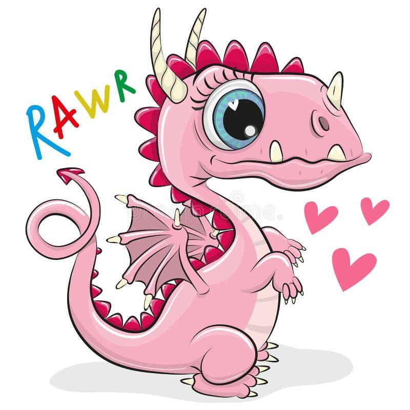 Cute Cartoon Dragon on a white background stock illustration