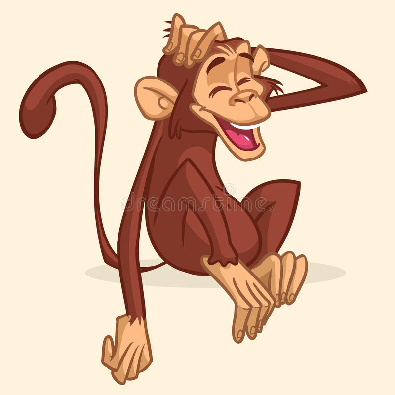 Cute cartoon drawing of a monkey sitting. Vector illustration of chimpanzee stretching his head and smiling with eyes closed stock illustration