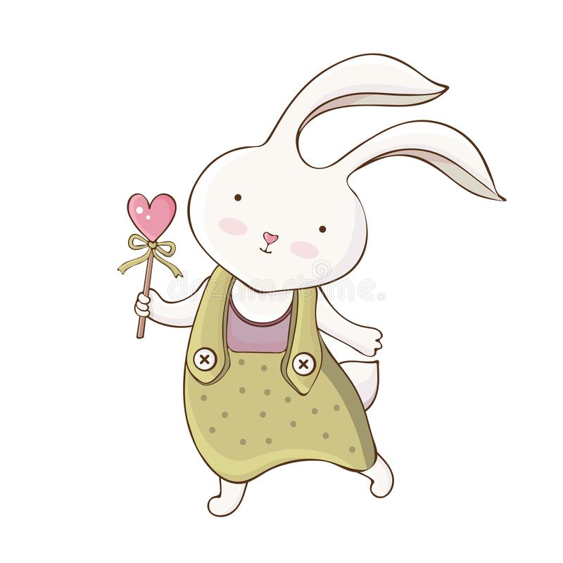 Free Cute Cartoon Easter Bunny In . A Little Rabbit Holds A Heart. Vintage Hand Drawn Style. Kawaii Funny Animal. Happy Character Royalty Free Stock Image - 163380066