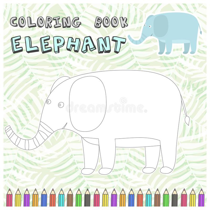 Cute cartoon elephant silhouette for coloring book. Cute cartoon smiling elephant silhouette for coloring book. Childish flat illustration of big elephant for stock illustration
