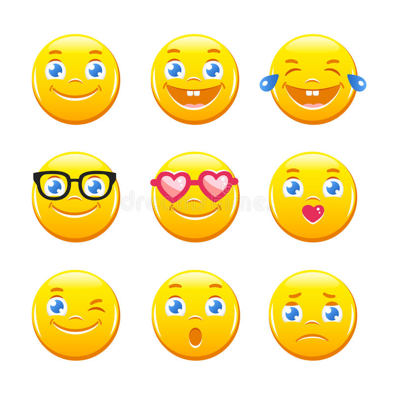 Cute cartoon emoticons. Emoji icons vector pack. Yellow smiley faces. Set of cute cartoon emoticons. Emoji icons vector pack. Yellow smiley faces royalty free illustration
