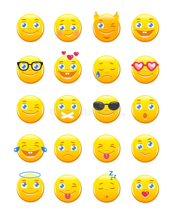 Cute cartoon emoticons. Emoji icons vector set. Yellow smiles on white background stock illustration