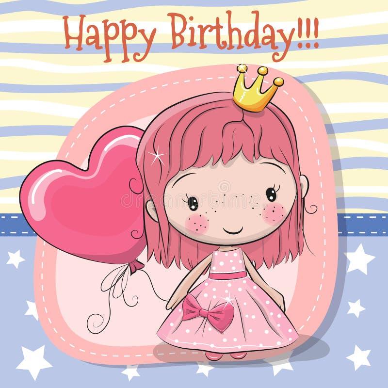 Cute Cartoon fairy tale Princess. Greeting Card with Cute Cartoon fairy tale Princess stock illustration