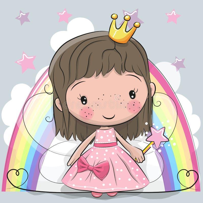 Cute Cartoon fairy tale Princess fairy. On a rainbow background stock illustration