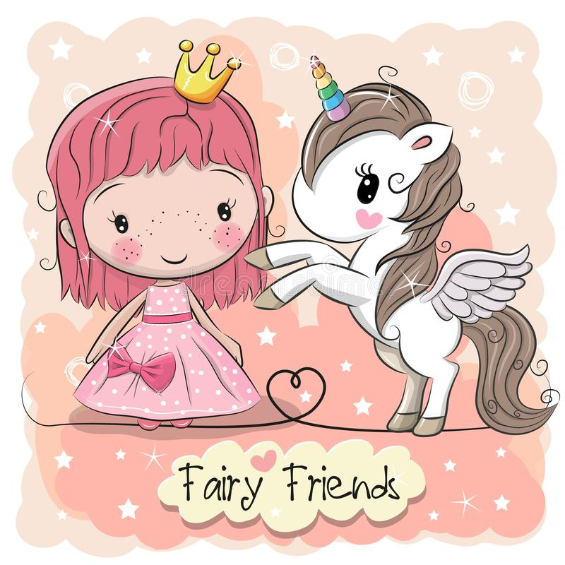 Cute Cartoon fairy tale Princess and Unicorn stock illustration